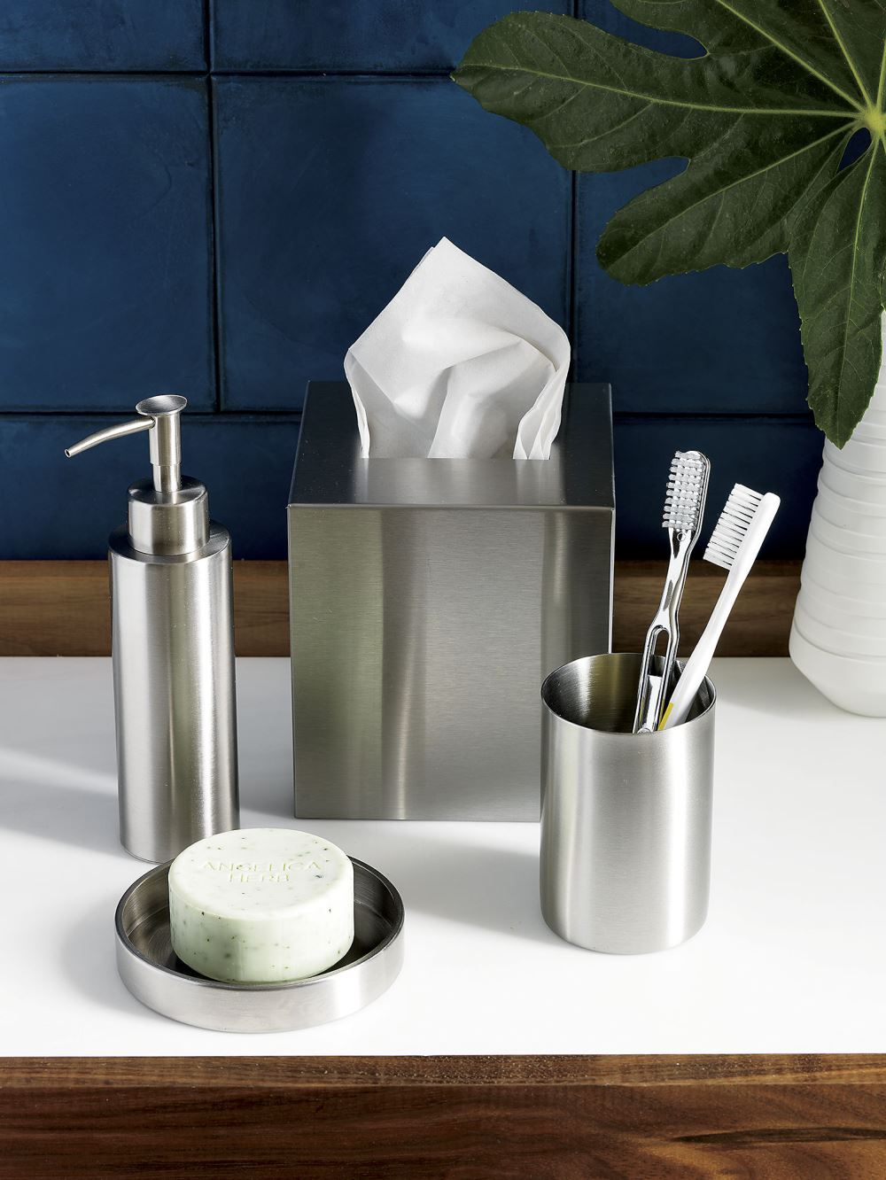 Stainless steel bath accessories from CB2