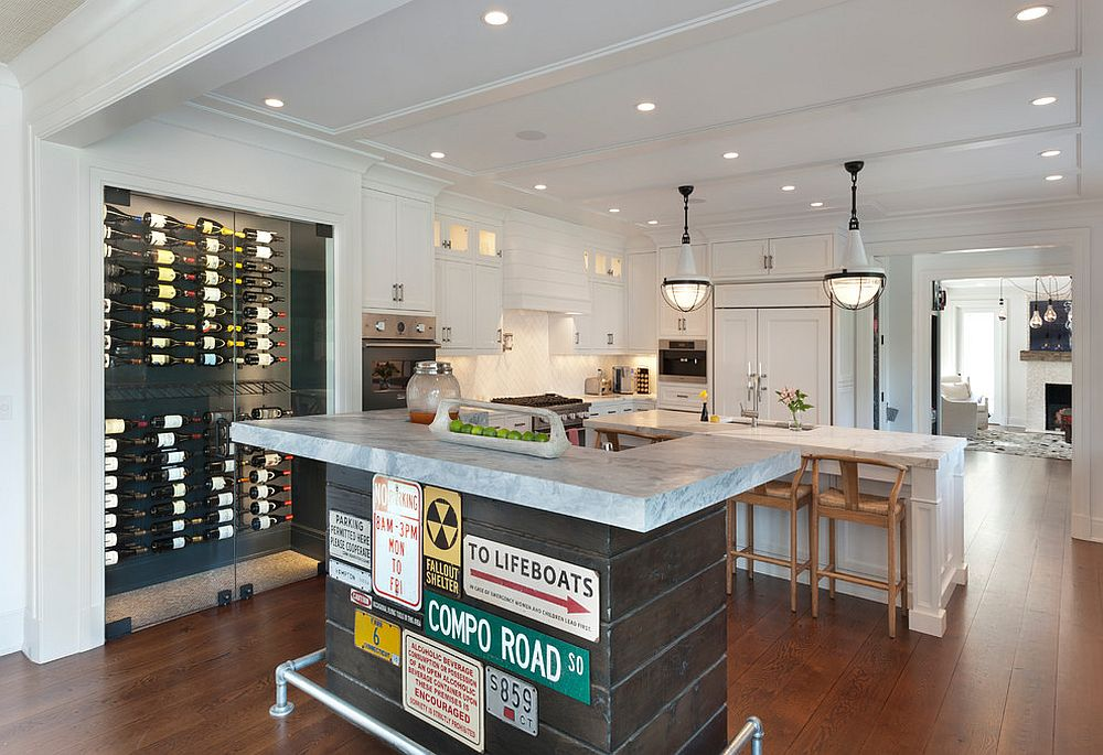 Street signs give the island in the home bar an industrial twist [From: Hogue Interior Design]