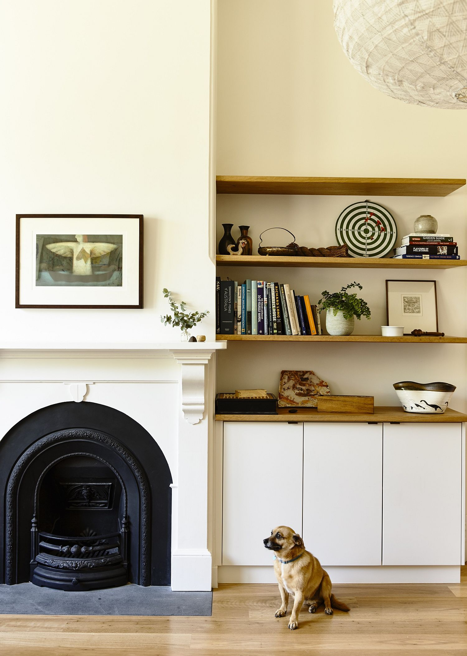 Striking features of the original home kept intact like the fireplace
