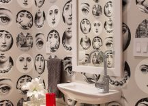 Strikingly beautiful wallpaper for the eclectic powder room