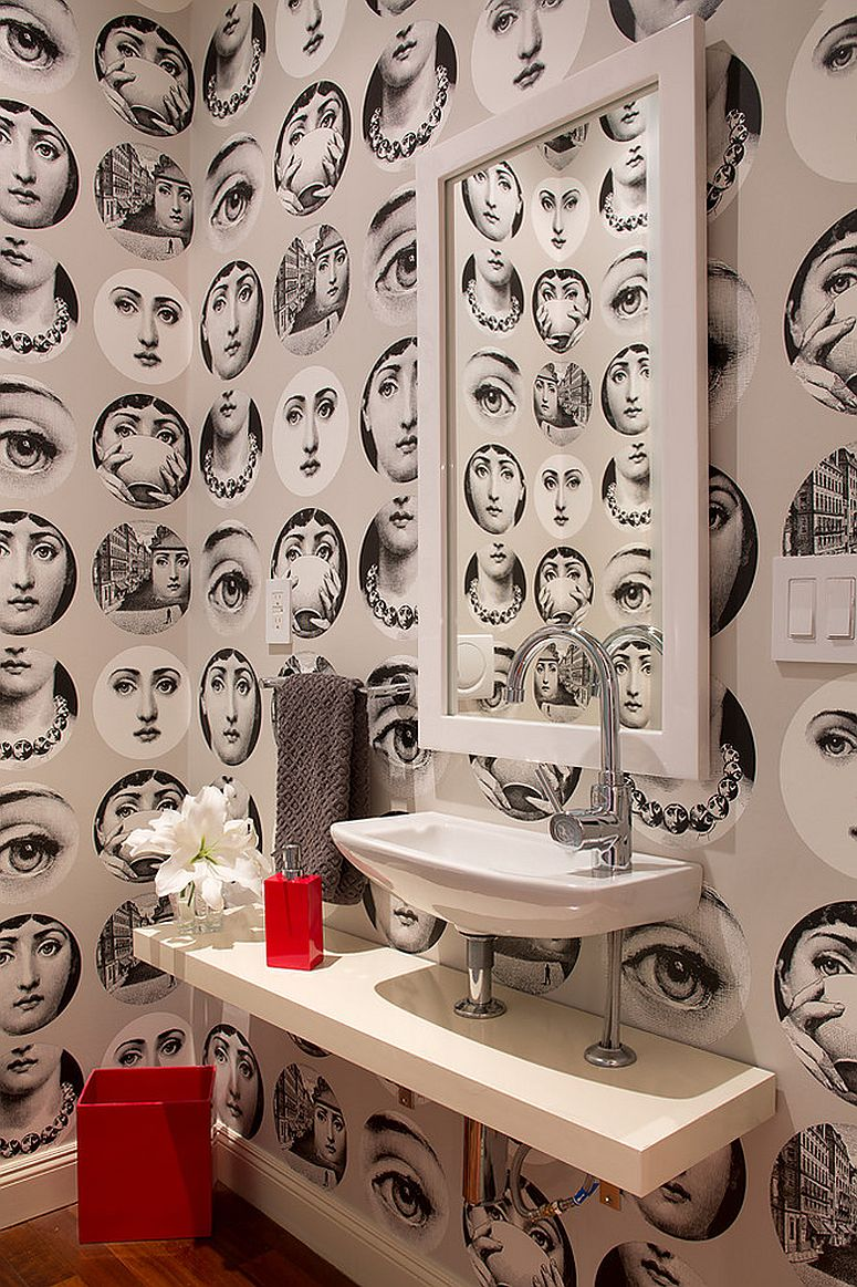 Strikingly beautiful wallpaper for the eclectic powder room [Design: Artistic Designs for Living, Tineke Triggs]