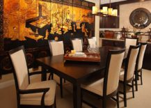 Stunning print on the wall creates the perfect background for a Chinese style dining room