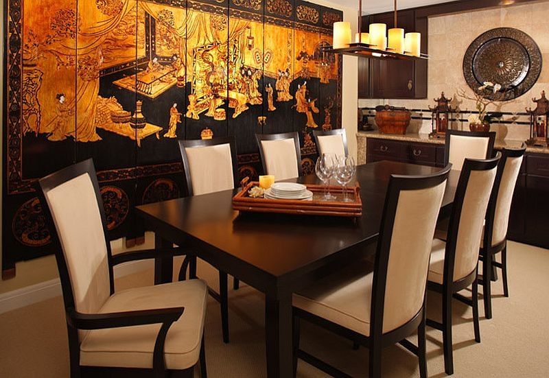 Stunning Print On The Wall Creates Perfect Background For A Chinese Style Dining Room