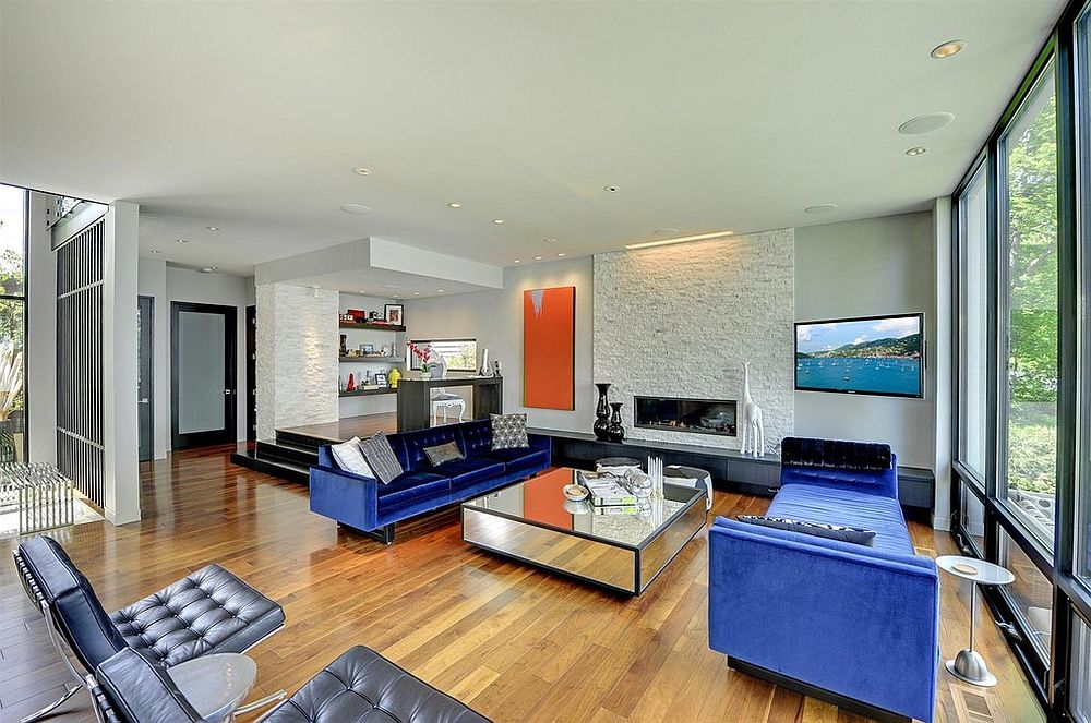 Stylish contemporary living room with midcentury modern furniture [From: Turnquist Design]