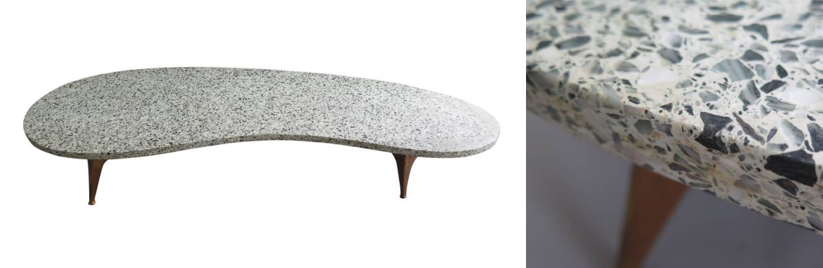 Terrazzo coffee table from 1stdibs dealer Mark Frisman