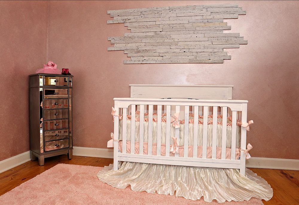 Textured wall in pink gives the shabby chic nursery a hint of rustic beauty [From: Southern Vintage]