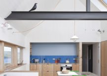 Timber left over from the construction and concrete shape an eco-conscious interior that reduces wastage