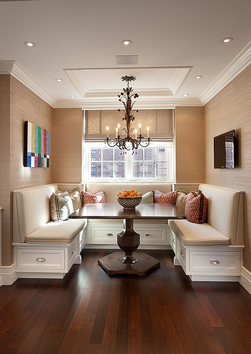 Traditional banquette dining room with pull out drawers that offer plenty of storage space [Design: The Renovated Home]