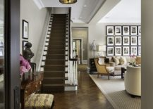 Traditional entry shares a gallery wall with the living room