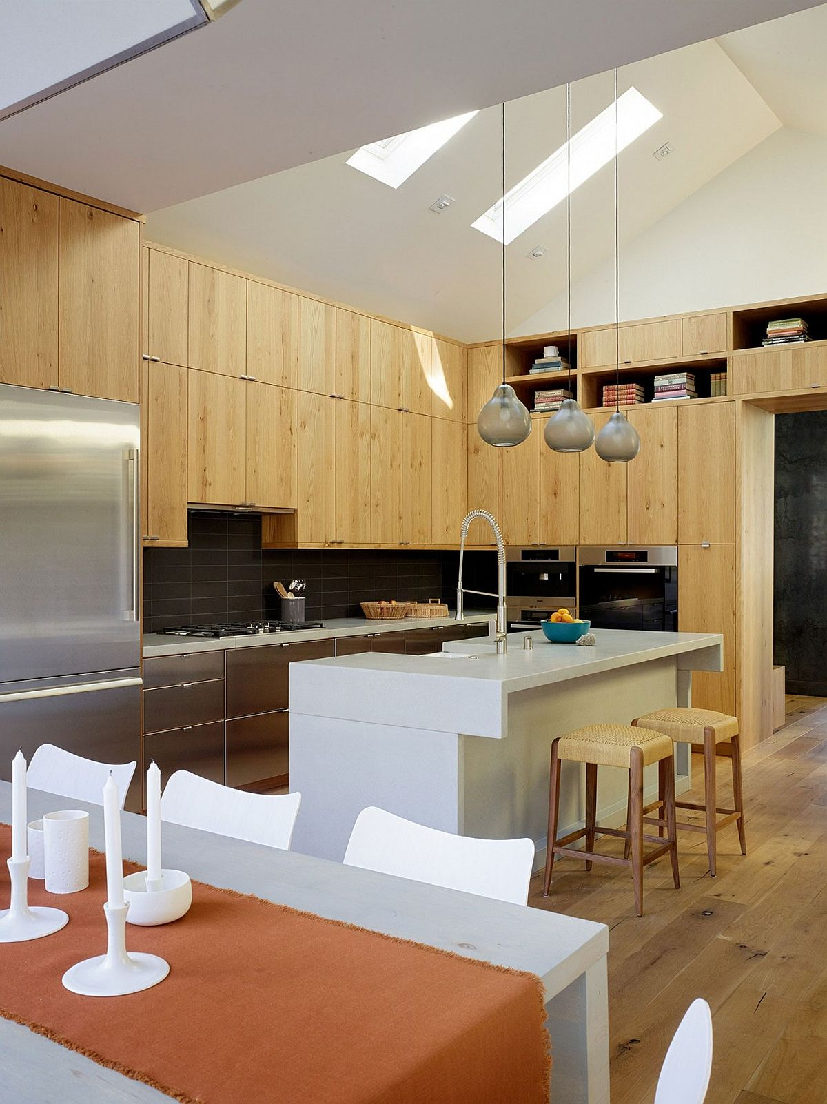 Traditional kitchen with smart pendant lights