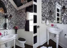 Traditional powder room in black and white with a lovely chandelier