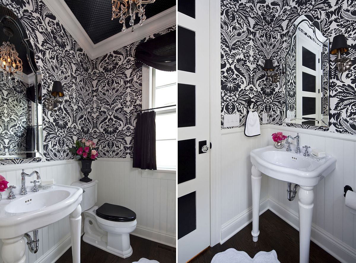 Traditional powder room in black and white with a lovely chandelier [From: Martha O'Hara Interiors / Troy Thies Photography]