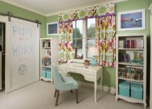 Transitional girls' bedroom with barn door covered in whiteboard