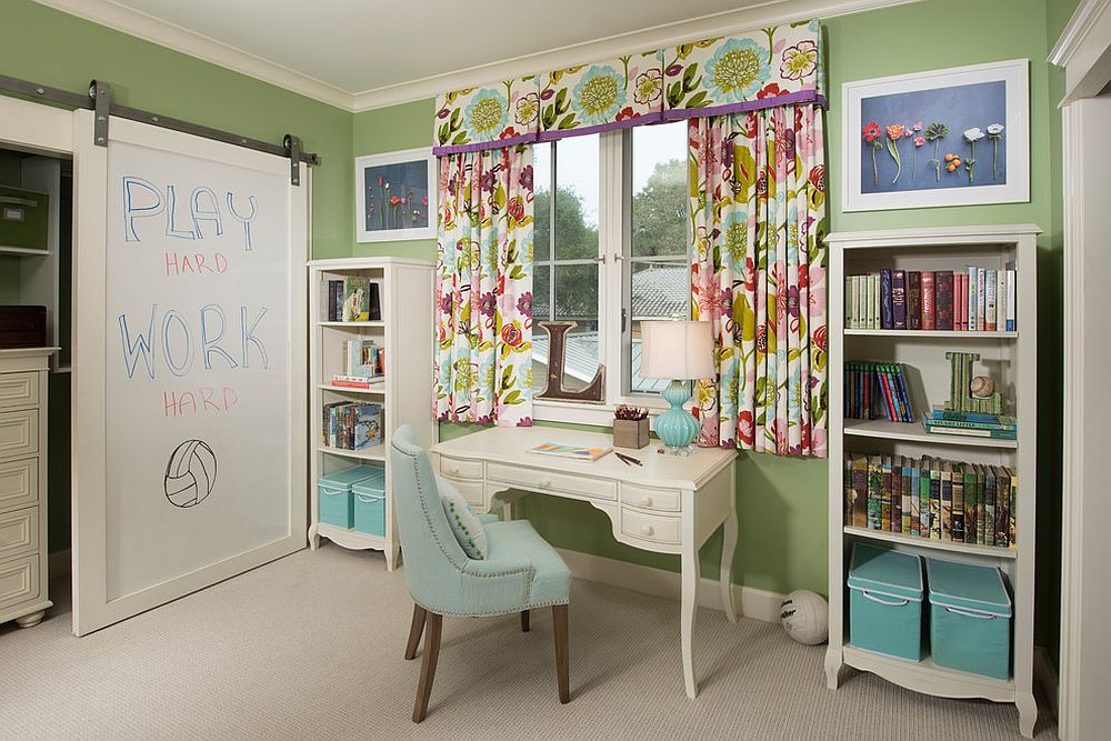 Transitional girls' bedroom with barn door covered in whiteboard [From: Johnston Home / Finger Photography]