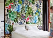 Tropical bedroom with a colorful accent wall