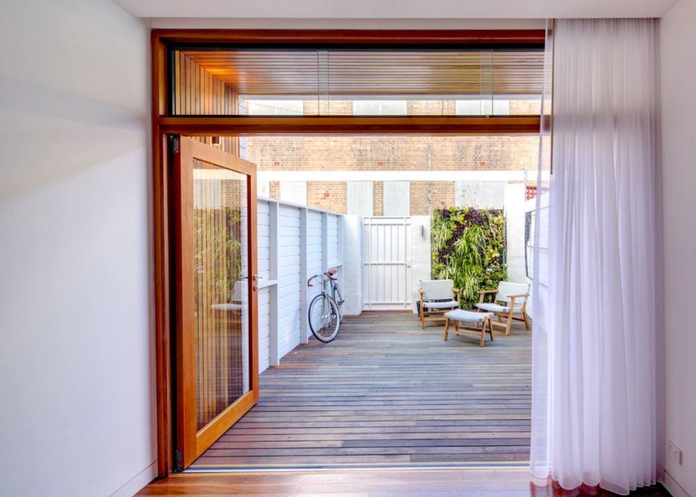 Vertical garden on an outdoor deck
