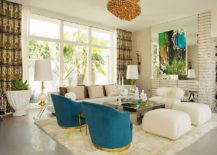 Vibrant contemporary living room with mirrored coffee table