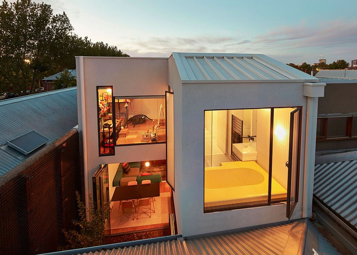 View of the modern rear extension of terrace home in Melbourne