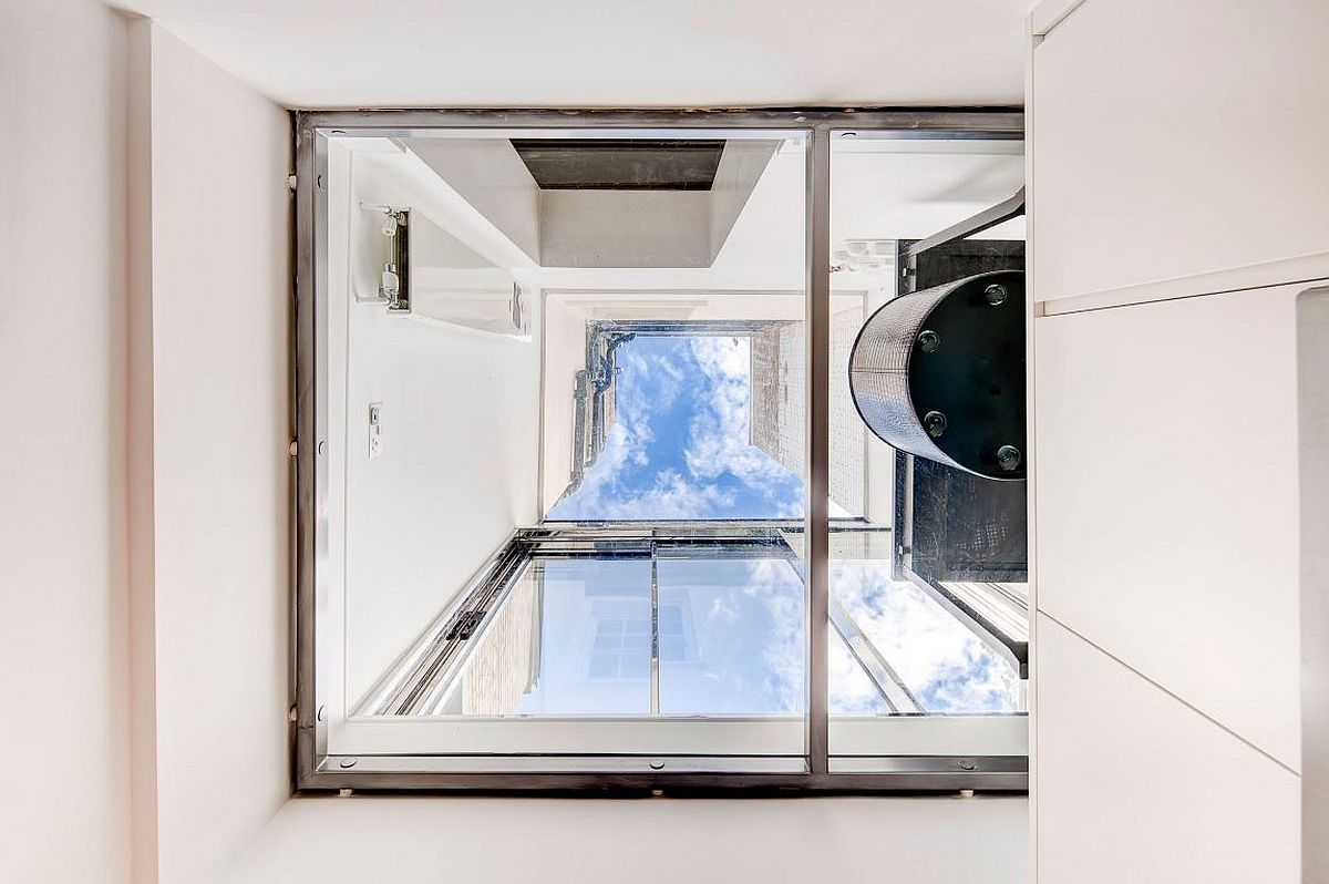 View of the skylight from the lower level of the house