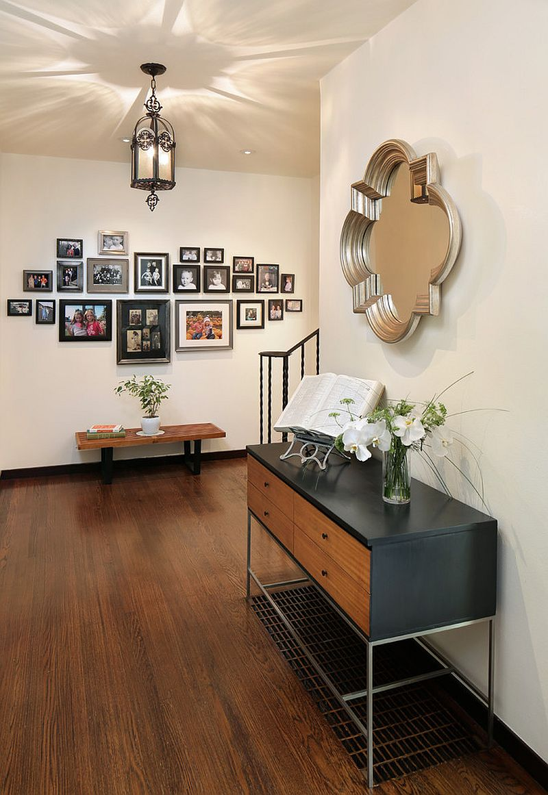 Vintage Paul McCobb console table and George Nelson bench for the midcentury entry [From: Melinamade Interiors / Bernard Andre Photography]