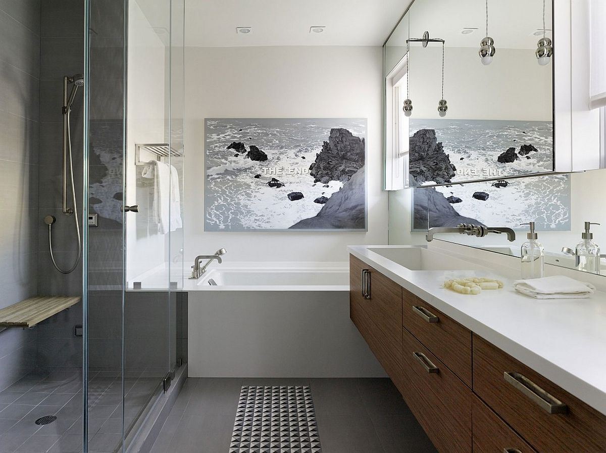 Wall art adds an interesting twist to the spacious modern bathroom