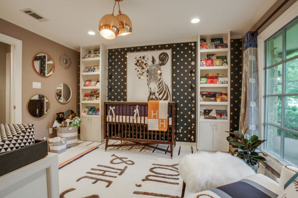 View in gallery Wallpaper and wall art in a beautifully appointed nursery & Creative Ideas for Your Nursery Accent Wall