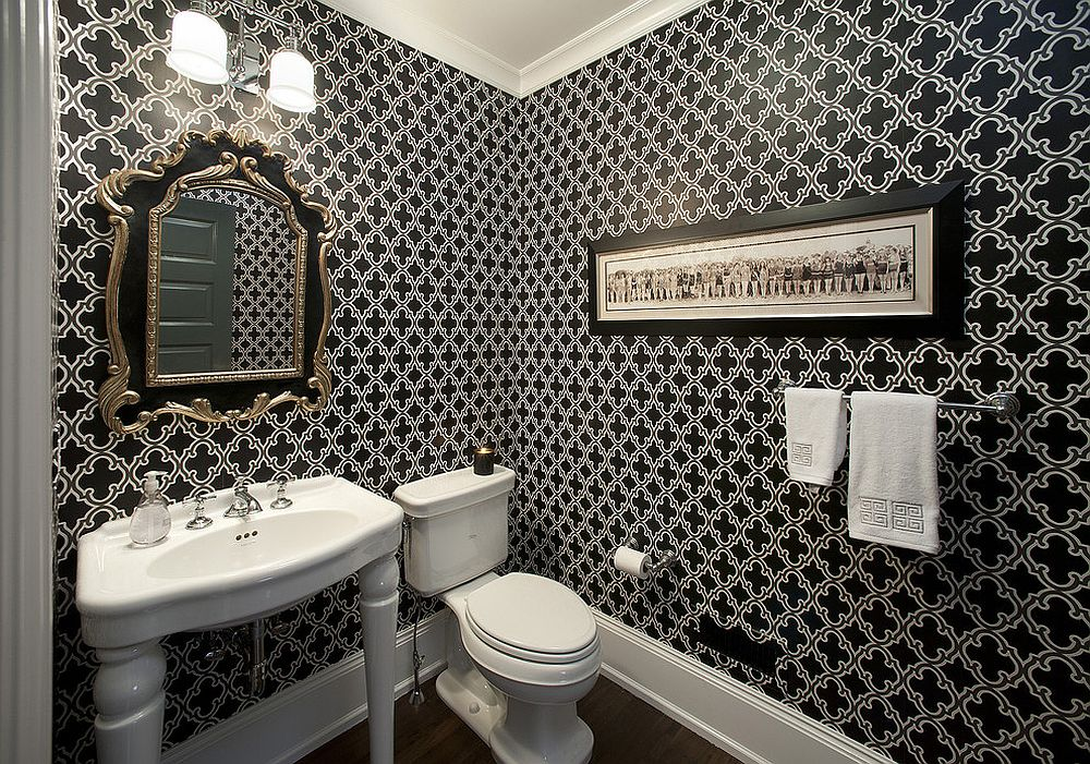 Wallpaper in black and white adds elegance to the powder room [From: Kallista Plumbing / Jay Greene Photography]