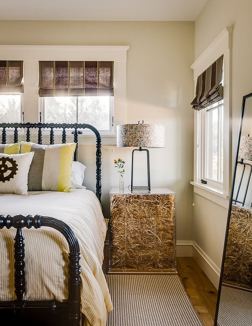 Who knew a bale of hay could add golden hue to the bedroom! [Design: Bevan Associates]