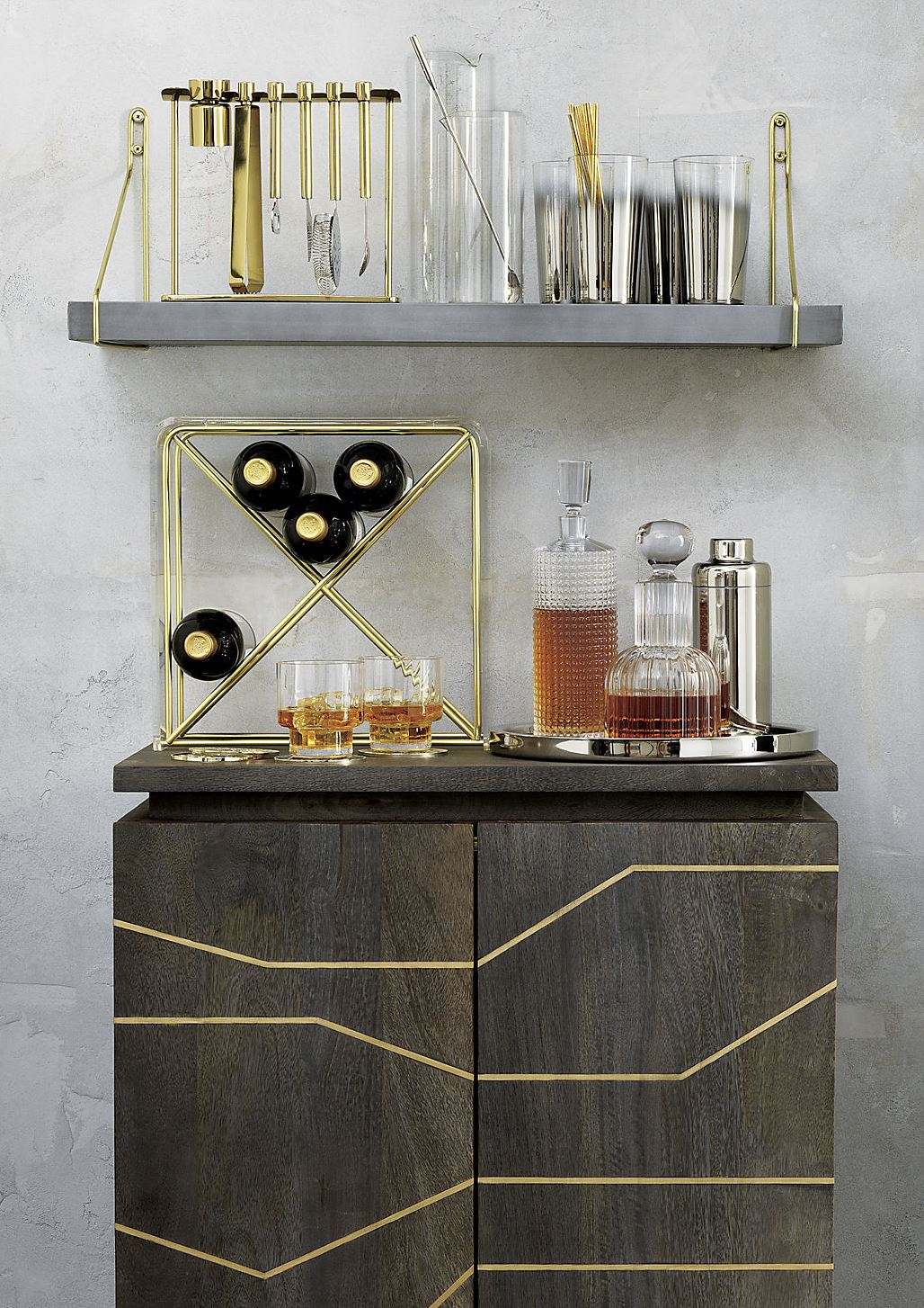 Wood and brass cabinet from CB2