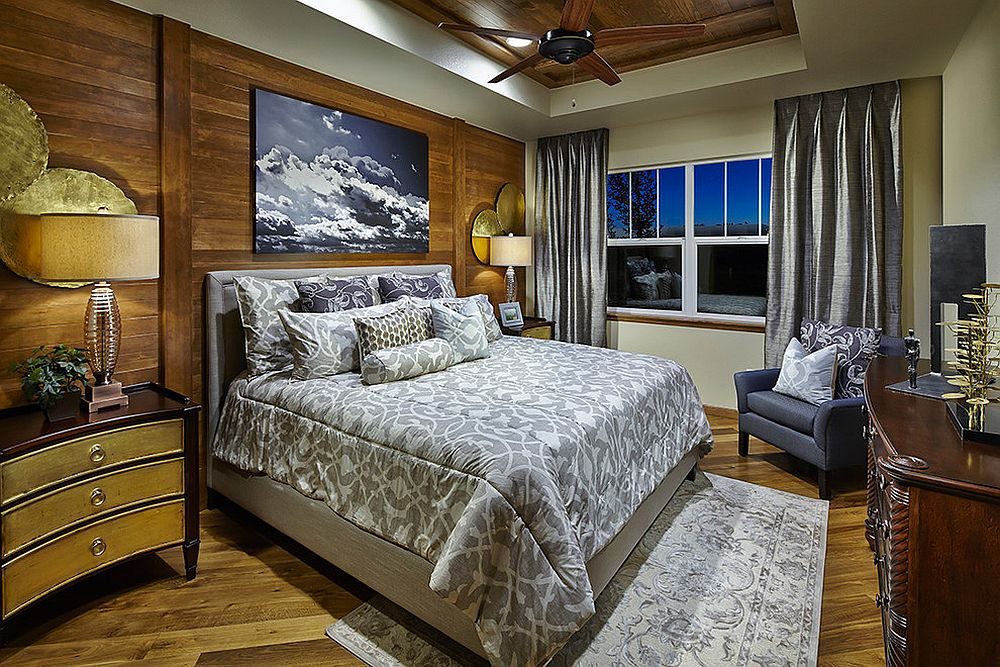 Wood and gold combined elegantly in the transitional bedroom [From: TRIO Environments]