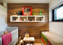 Wooden paneling in a modern nursery