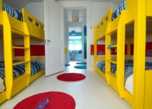 Yellow and blue coupled with a splash of red in the modern kids' room