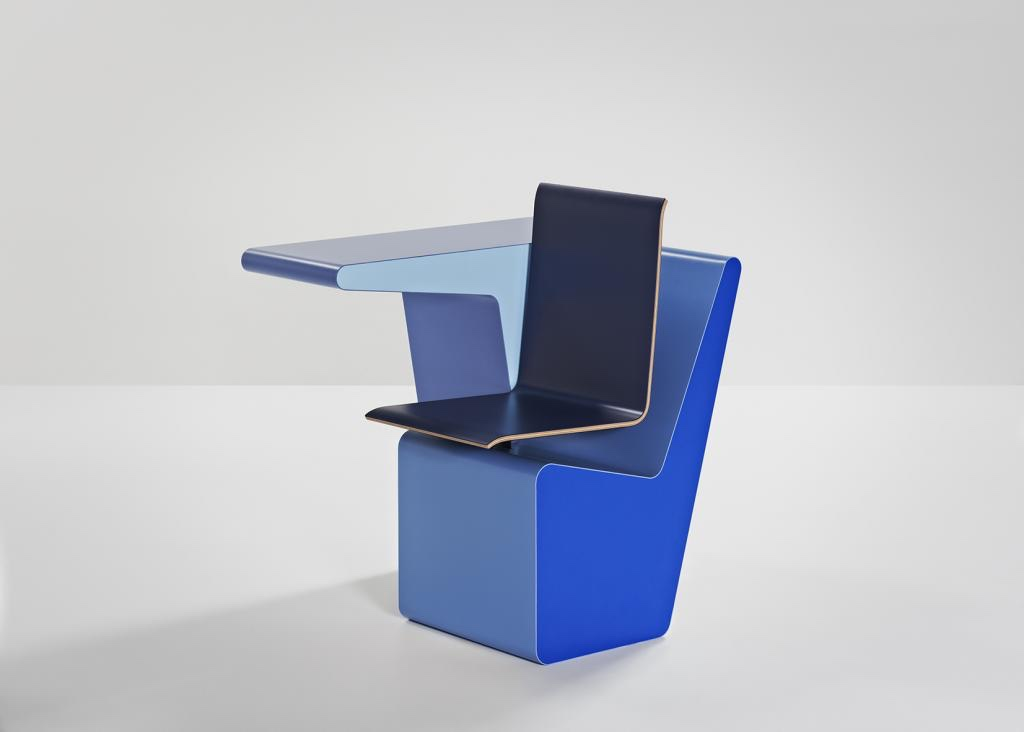 The PROOFF #006 SideSeat by Studio Makkink & Bey is a clever, compact and comfortable self-contained desk, cupboard and chair. The #006 SideSeat is pictured in colour combination #006.07. Image courtesy of PROOFF.
