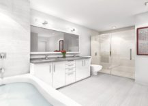 A visualization of contemporary bathroom at luxury condo inside NINE