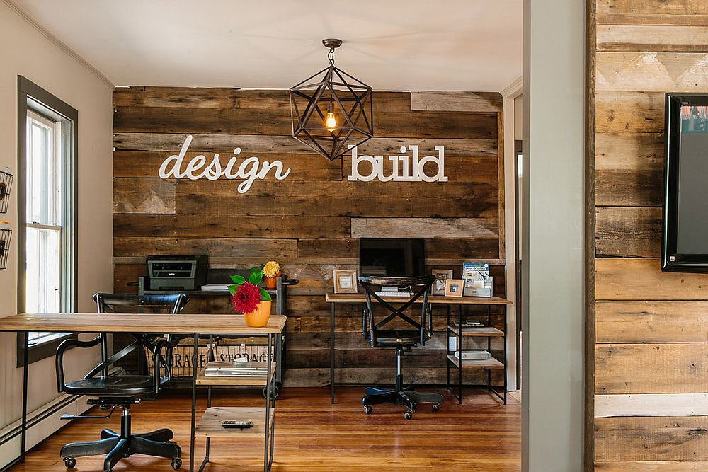 Incroyable View In Gallery Accent Wall Crafted From Reclaimed Wood Is Perfect For The  Industrial Home Office [Design: