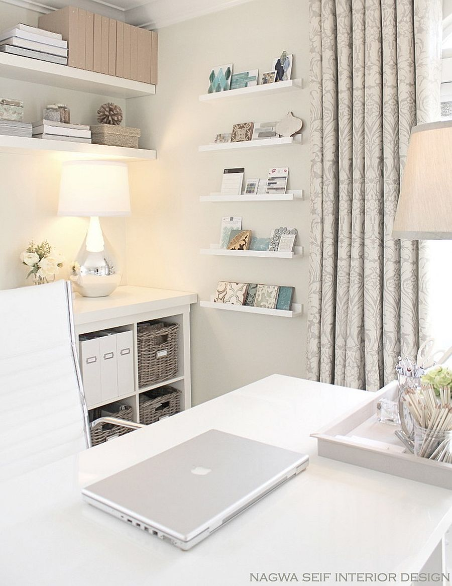All-white contemporary home office by Nagwa Seif Interior Design