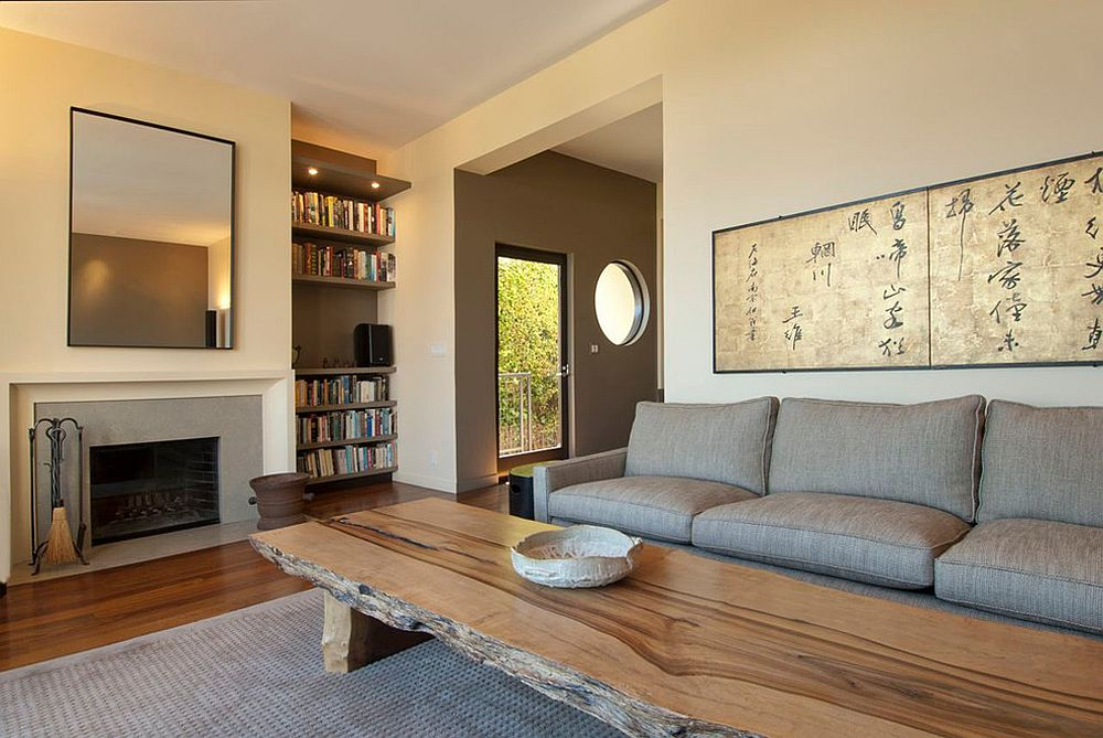 Asian styled living room with large live edge coffee table [Design: Indivar Sivanathan]