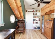 Attic home office with reclaimed wood wall and accents