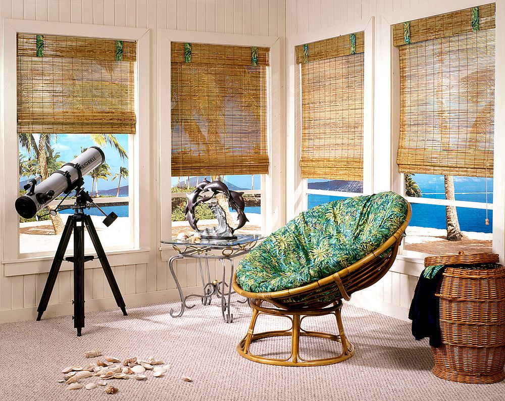 Bamboo furniture and woven wooden shades allow you to create your own personal tropical escape [From: 3 Blind Mice Window Coverings]