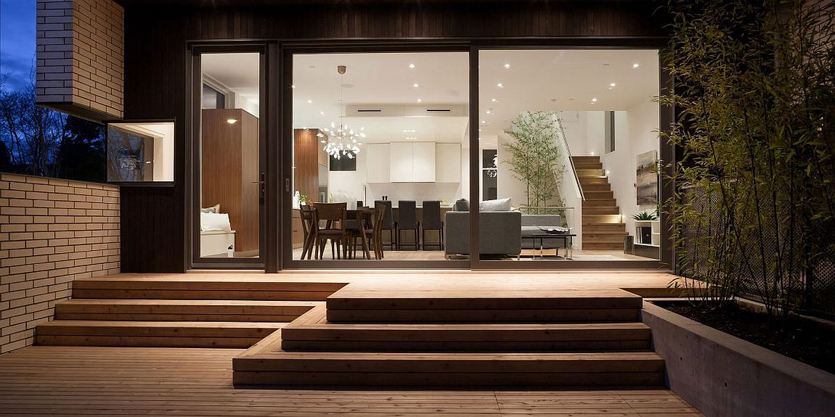 Bamboo garden inside the home is visually linked with one outside