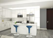 Bar stools bring a touch of blue to the kitchen