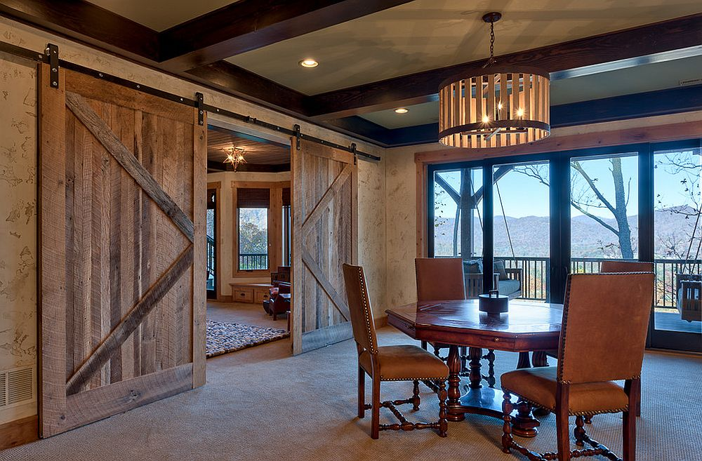 Barn doors are a great choice for the rustic dining room [From: Glennwood Custom Builders]