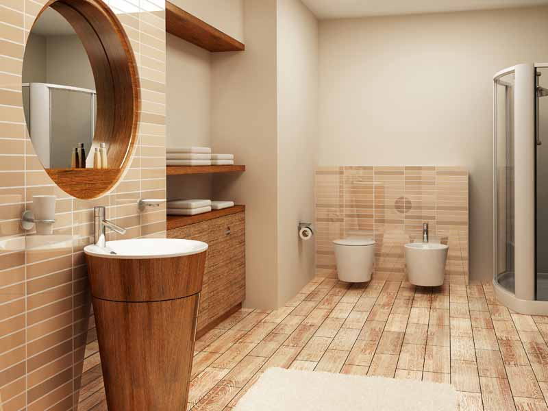 Bathroom filled with warm tones