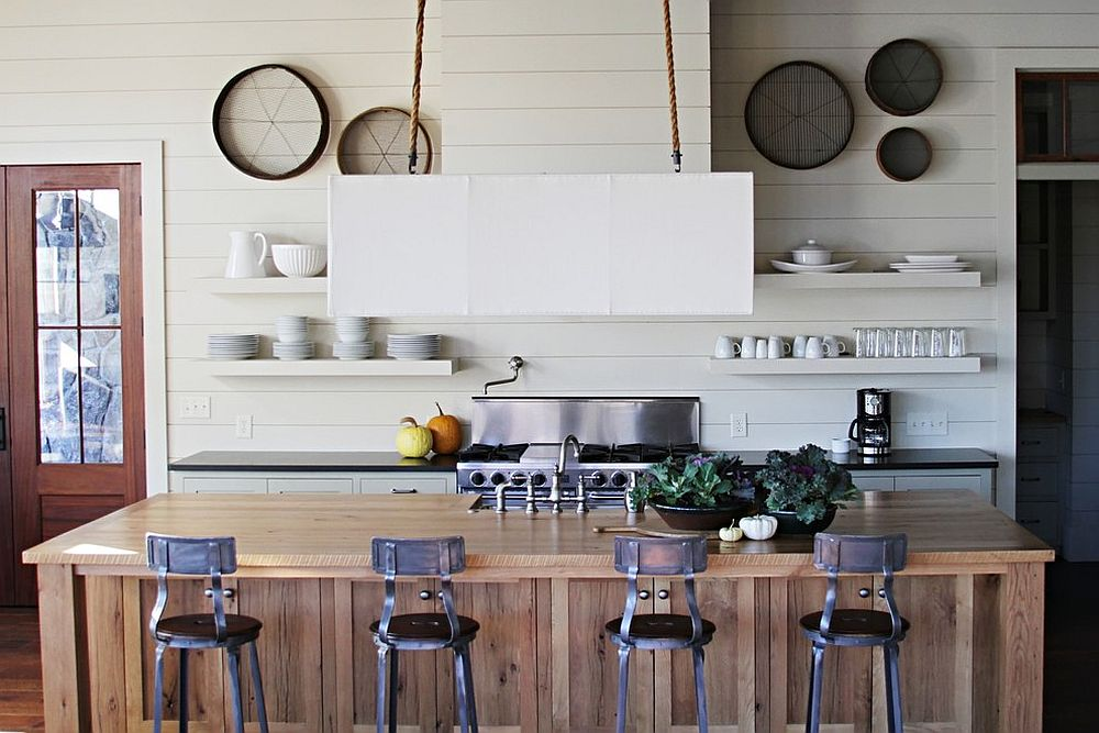 Beach style kitchen with kitchen island draped in reclaimed timber planks [Design: Yvonne McFadden]