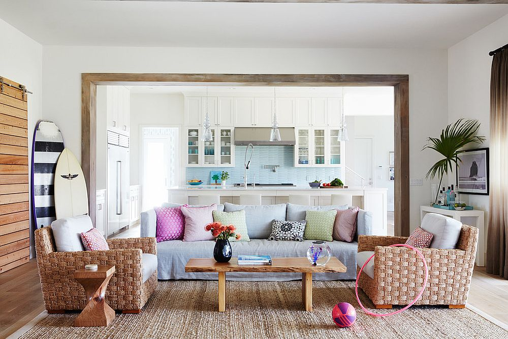 Beach style living room with an organic vibe [Design: Andrew Howard Interior Design]
