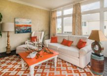 Beachy tropical style sunroom in orange 217x155 Bring Home the Holiday Vibe: 20 Relaxing Tropical Sunrooms