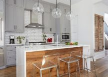 Beautiful transitional kitchen in white gray and reclaimed wood 217x155 20 Gorgeous Ways to Add Reclaimed Wood to Your Kitchen