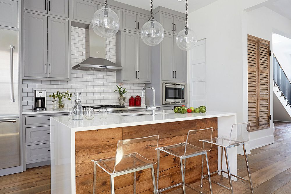 Beautiful transitional kitchen in white, gray and reclaimed wood [Design: Wellborn + Wright]