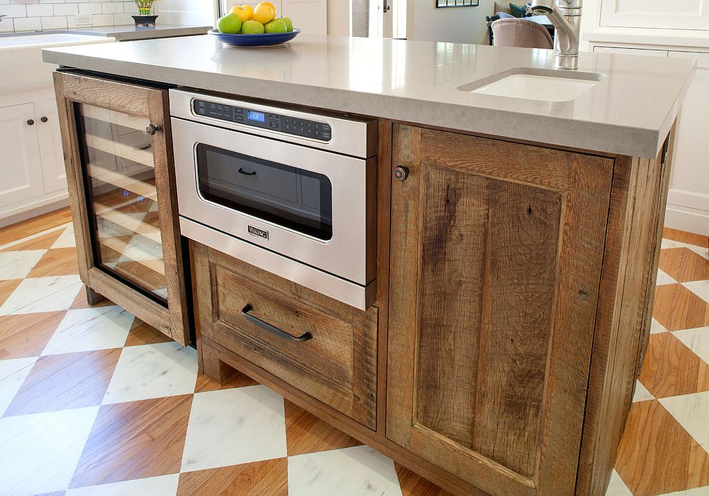 20 gorgeous ways to add reclaimed wood to your kitchen for Kitchen island with cupboards