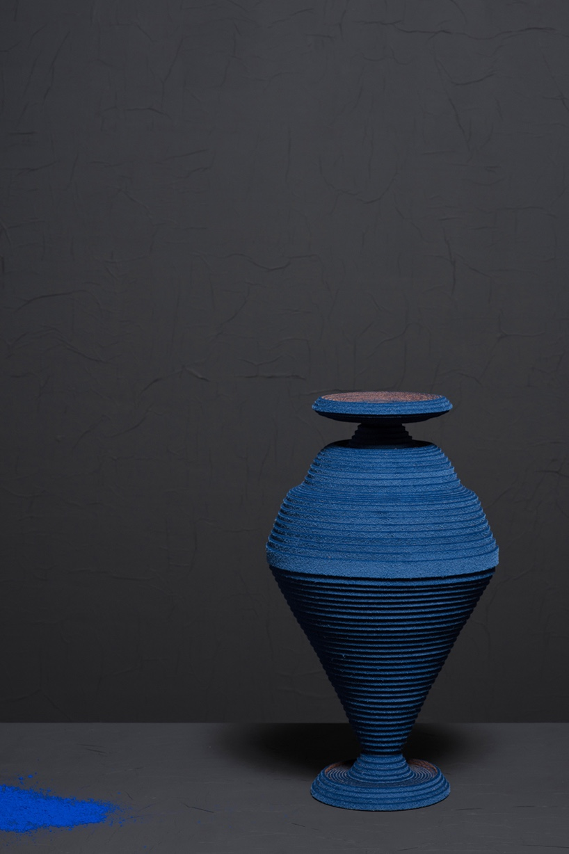 "One of seven felt vases in the ""Blue Alchemy"" collection."